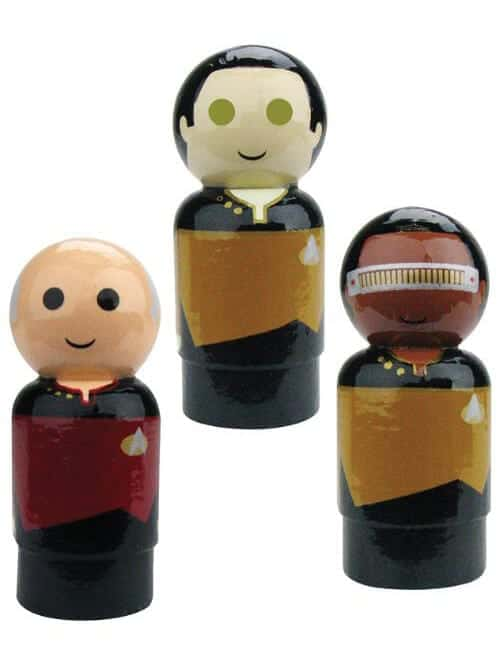 picard data la forge wooden figures