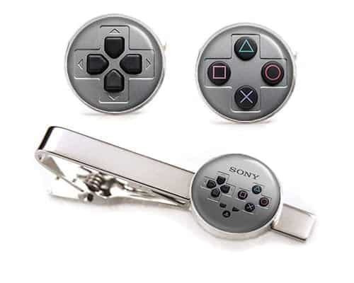 playstation cuff links tie clip