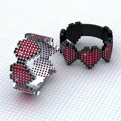pixel heart engagement ring